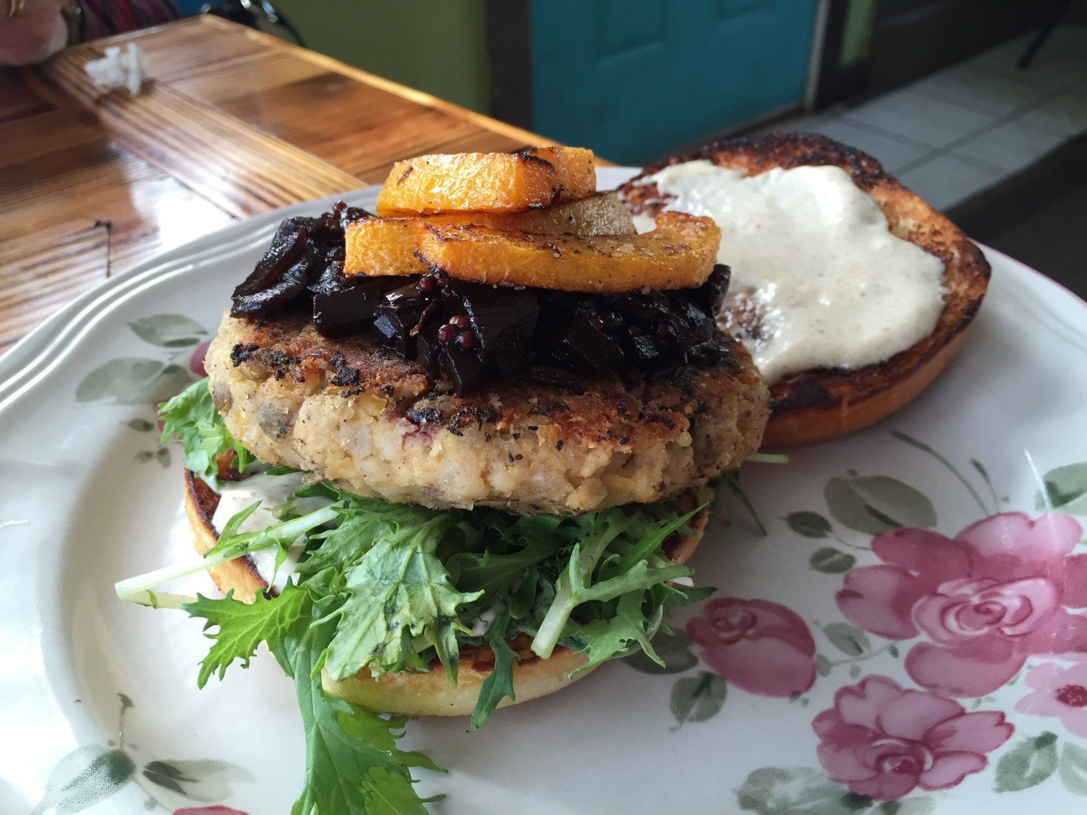 The multi-grain veggie burger with beet and onion jam at Sneaky Pickle