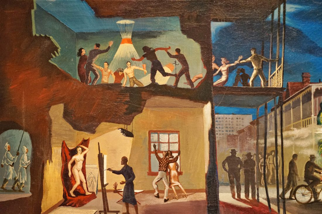 """The Ogden has a large permanent collection of Southern art throughout history, with constantly rotating special exhibitions, and events. This is one of my favorite pieces in the museum, entitled """"The Parade"""" from artist John McCrady, painted in 1950. The Ogden hosts a weekly happy hour soiree called Ogden After Hours, with live music and interviews by southern musicians in the atrium with a cash bar. It's a different way to explore the museum, all while taking in the sounds of the south."""