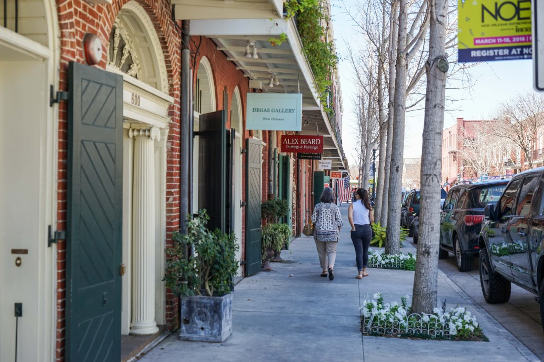 The block of Julia Street between Camp and St. Charles is one of the cutest, with matching row houses full of galleries and retail and restaurants.
