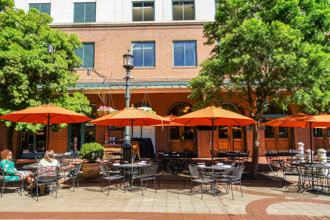 A life of leisure. I love all the outdoor seating along the Fulton Street eateries! It's very European.