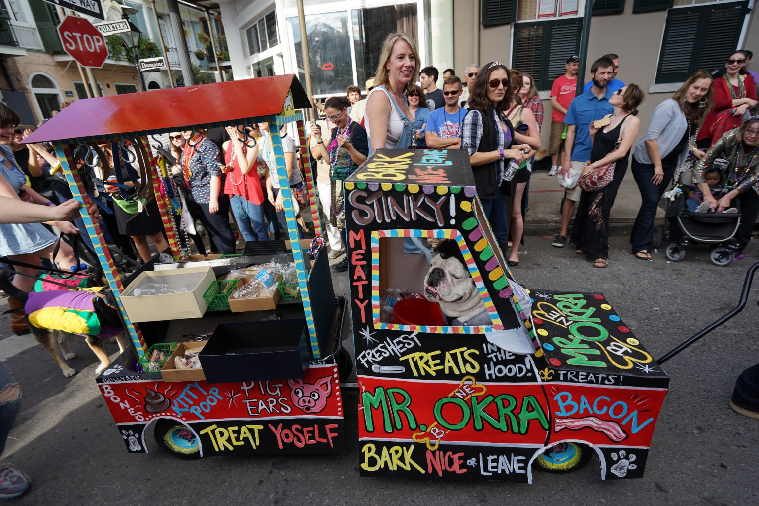 A dog dressed as beloved local character Mr. Okra at a recent Barkus parade. (Photo: Paul Broussard)