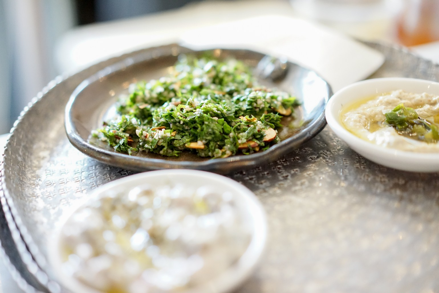 Spreads and dips to pair with pita. (Photo: Paul Broussard)