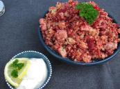 Couscous salad with red beets