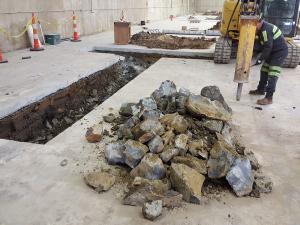 Rock excavation underway