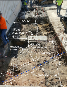 Underground utilities in area of new front entrance