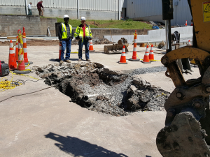 Sink hole excavated