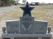 """Georgia gray granite, two graves monument, 2-wings 22"""" x 22"""", center 22"""" x 48"""", Star shape on top, base 78"""" x 12"""""""