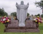 """Custom two graves, morning rose granite, 2-books, 5 ft gray granite Sacred Heart statue, base 72"""" X 14"""""""