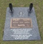 Blue Pearl Half ledger, bronze plate, metal vases, black & white laser insert photo.