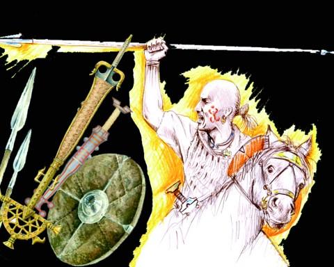 Representación de guerrero vacceo y del armamento aparecido en los distintos enterramientos.