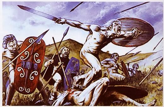 Ímpetu del guerrero celta en reconstrucción artística de la batalla de Telamón.
