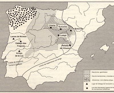 Figura 2-2: Mapa de la Hispania céltica con límite de topónimos en –briga (céltico), distribución de gentilidades, distribución de inscripciones celtibéricas y teónimos lusitano-galaicos, y límites de los mismos. Nótese un área lusitano-galaica, un área celtibérica y un territorio intermedio. (Según Álvarez Sanchís 2003).
