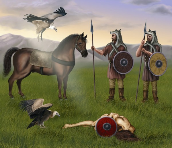 Dibujo inspirado en la escena recogida en la estela cántabra de Zurita. Destacar el ritual de exposición del cadáver del caído en combate a los buitres, el caballo como símbolo de las élites guerreras, y las pieles de lobo como señal del mundo simbólico de las mannerbünde. Dibujo de Nuria Román.
