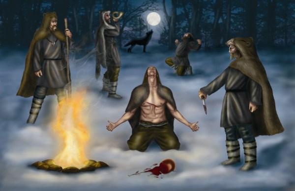 Representación de un rito de magia guerrera y licantropía a partir de las ideas recogidas en este trabajo. Dibujo de Nuria Román.