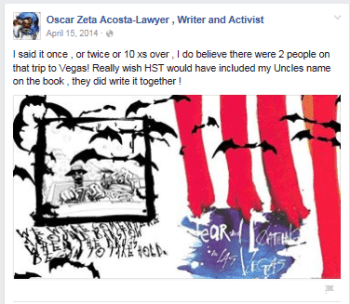 Facebook post on the Oscar Zeta Acosta page administered by Oscar's niece Stephanie Acosta