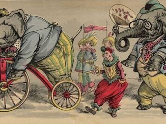 Follow the circus procession 1888 public domain books copyright free drawing elephant on bike
