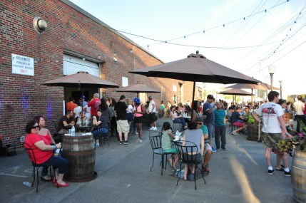 Outdoor tables at Night Shift Brewery