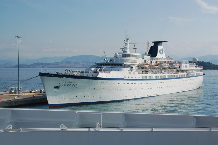 The MV Princess Danae, operated by Pullmantur Cruises, tied up at Corfu harbour, Greece. Photo taken from another cruise ship, the MS Insignia.