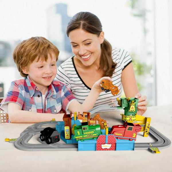 """""""Busy Construction Site""""- Hot selling, 3+ years old Child Challenge brain with hands-on toy, (Role-play of construction vehicle dispatching track vehicles toy)"""