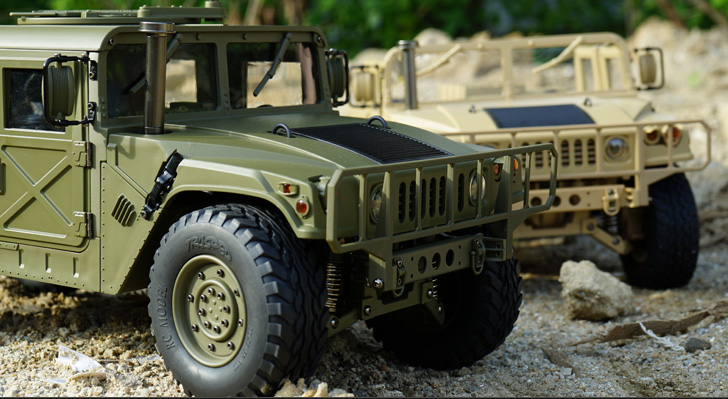 RTR 1/10 Large Size, High Quality, Profession Hobby, U.S. 4x4 Military Vehicle Jeep RC Humvee / Hummer Scale Model Car (4WD Crawler Truck / Car)