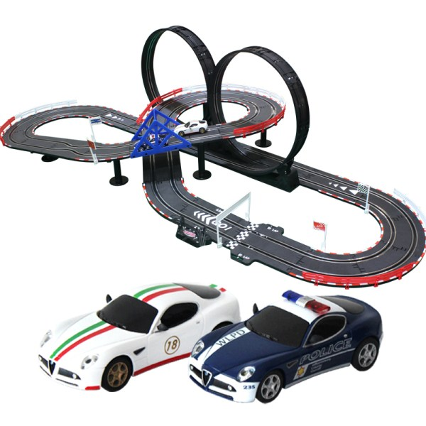 """""""3D Track Layout""""- 6 Meters Track Length, Top-Racer AGM TR Series (TR-01) Slot Car Racing Set Kits. (1:43 Scale Indoor racing car toy)"""