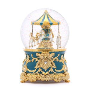 Carousel Music Snow Globe, Malachite green, Bright golden classical pattern. (Musical Box Water Globe / Snow Domes) For Decorative Collectibles, Gifts / Present.