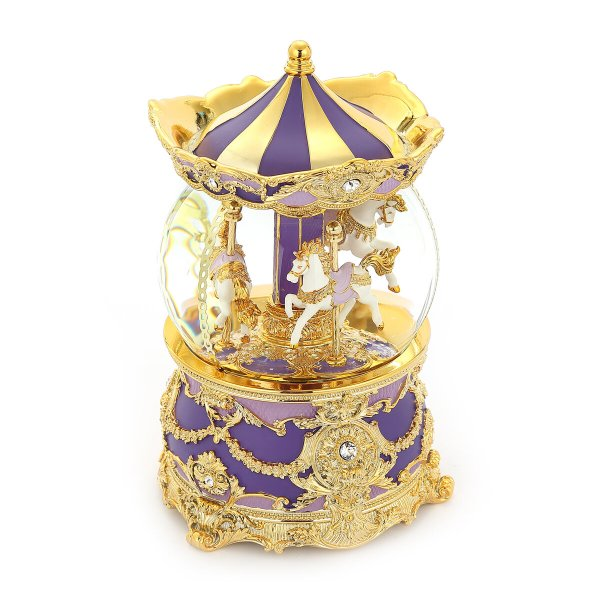 """Romantic Purple Color Carousel (Merry-Go-Round) Music Snow Globe, Classical golden pattern, Inlaid with sparkling """"Crystal Diamonds"""", Globe Automatic snow With light, (Musical Box Water Globe / Snow Domes) For Decorative Collectibles, Gifts / Present."""