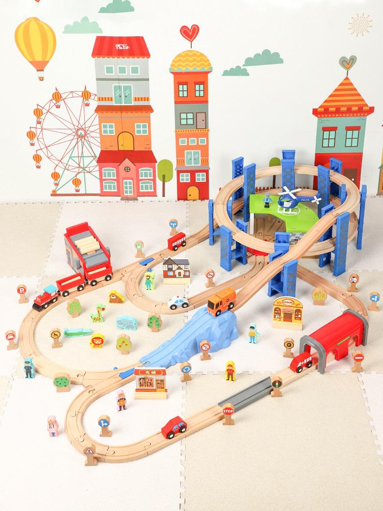 "-""Wooden Train Set & Wooden Train Tracks""- 120cm x 70cm Large Size Wooden Railway Rich Kits Scenes, (Lumber mill Transport line, Apron, Winding mountain road)"