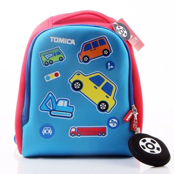 TOMICA Blue Kids School Bag Red Bottom, Cartoon Car & Construction Vehicles Pattern Boy's Backpack for Kindergarten School, Waterproof With Cute Wheel Style Coin Purse