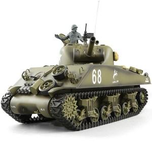 Heng-Long 3898 M4A3 Sherman RC Tank Basic Plastic Parts Edition, World War II United States Medium Tank M4 Sherman 1/16 Scale Model Remote Control Tank (Toy Tank, Military Vehicle Toy)