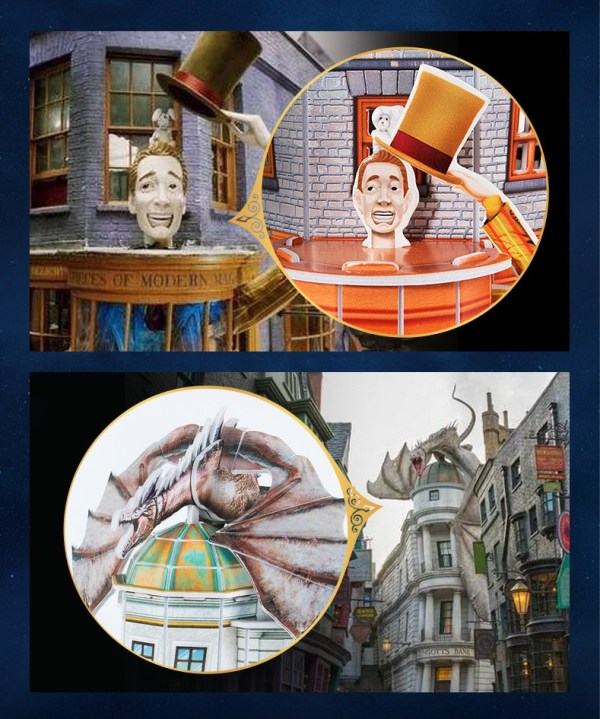 Harry Potter Diagon Alley Paper Jigsaw Puzzle, Weasley's Wizard Wheezes, Quality Quidditch Supplies, Ollivanders Wand Shop, Gringotts Bank. Wizard Magic gift, Building models, Desk decoration, Bookshelf decoration, Room decorations.