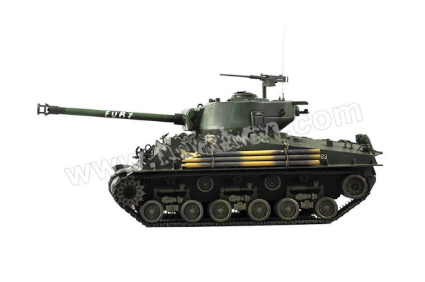 """""""Movie Prop"""" Level M4A3E8 Fury 1/16 RC Tank, M4 Sherman Scale Model Tank, M4A2(76)W HVSS Sherman Radio Remote Control Tank, American Medium Tank M4A2 Sherman."""