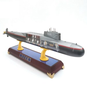 1:200 Scale Die-cast Ballistic Missile Submarine Model, Nuclear-Powered Ballistic Missile Submarine (SSBN) Diecast Scale Model, With Wooden Display Base, Submarine Internal Structure (best collection for warship enthusiasts, Warship teaching aids)