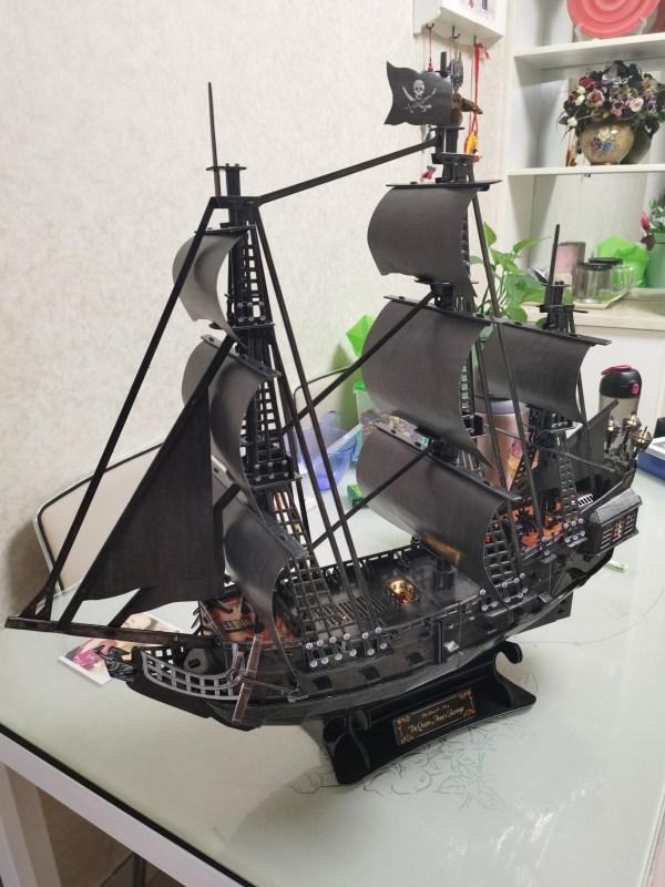 68CM Large Size, Big Scale, 340 Pieces, Hard Hand-assembled Handicrafts Paper Kits Scale Model Boat, Cubicfun Toys (Cubic-Fun L520h) Black Pearl Pirate Ship, Queen Anne's Revenge Pirate Ship 3D Paper Puzzle With LED Light