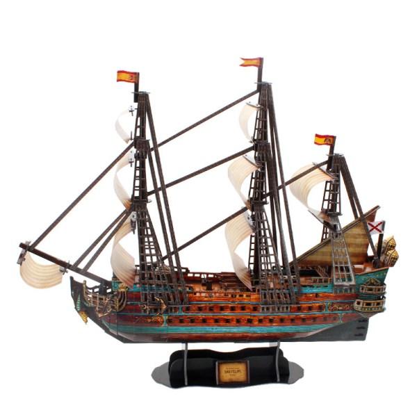 1:110 Scale The Spanish Armada San Felipe of 1690 Ship Model, Cubicfun Toys (Cubic-Fun T4017h) 3D Paper Puzzle, XVII Century Spanish Navy Galleons Battleship Decoration Artwork