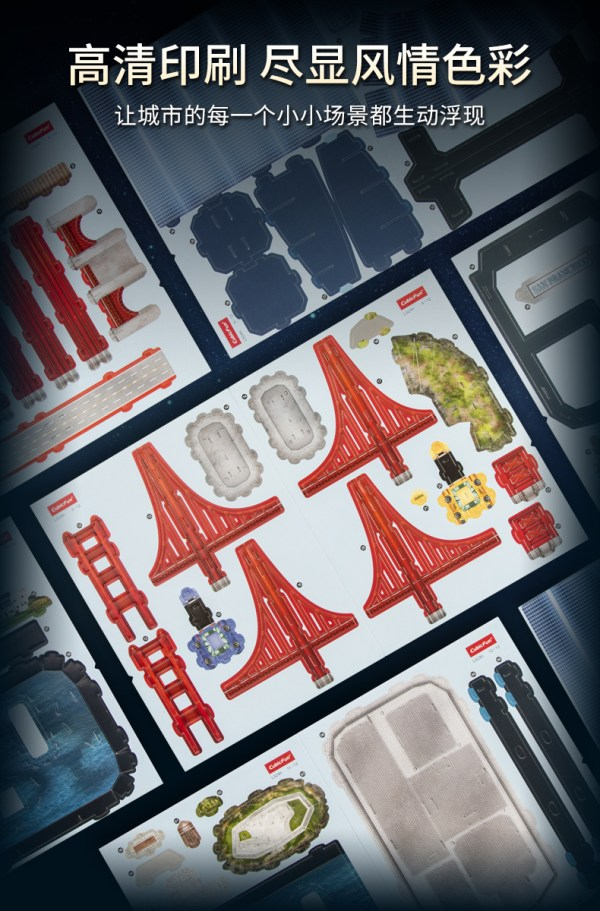 San Francisco City Skyline Famous Landmark Architecture 3D Paper Puzzle With LED Light, Transamerica Pyramid, Salesforce Tower (Transbay Tower), 555 California Street (formerly Bank of America Center), Skyscraper Paper Model Building Kits, Golden Gate Bridge, Alcatraz Island, Fisherman's Wharf, Fisherman's Restaurant Model Making Kits.