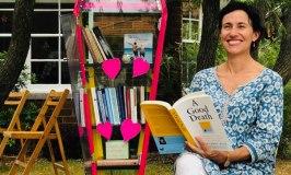 Kathryn Breusch at her friend Fran's coffin library