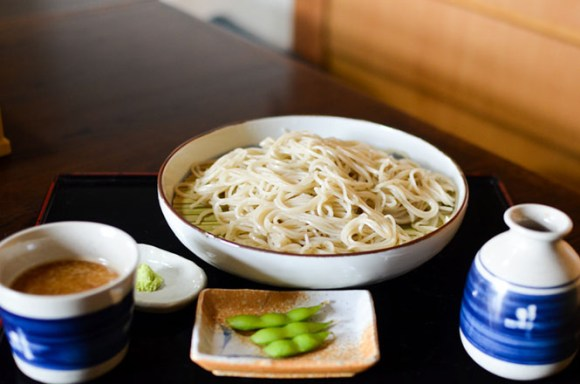 Buckwheat Noodles Served with Dipping Sauce and Grated Toroto Yam -Bibairo in Memuro-