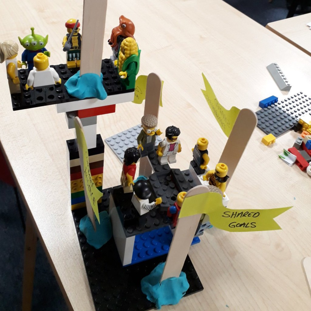 "Lego people talking in groups. A flag reads ""shared goals"""