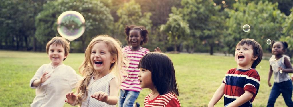 smiling children playing