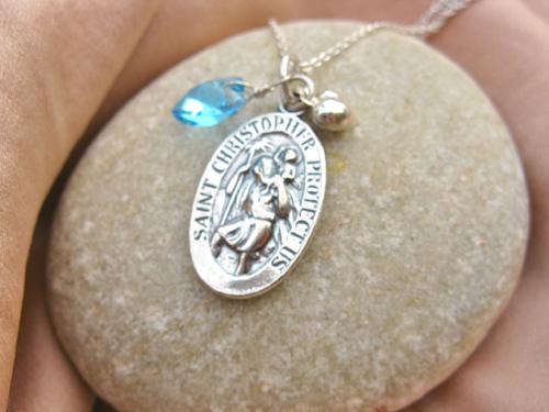 St Christopher necklace Garnet birthstone