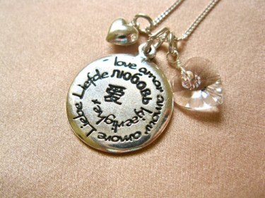 Love charm birthstone necklace