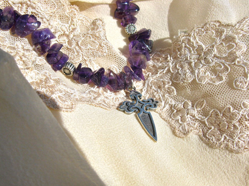 St James cross necklace with amethyst