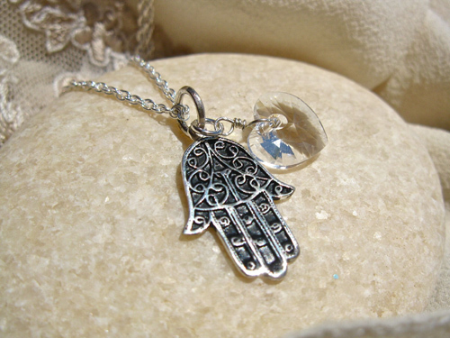 Hand of Fatima necklace with Citrine