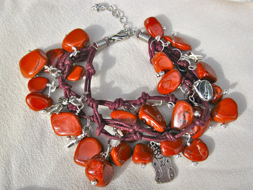 Red jasper guardian angel bracelet