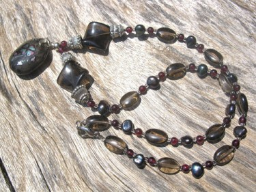 Smokey_Quartz_Garnet_Lucky_Clover_necklace