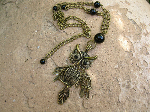 Owl protection necklace black agate