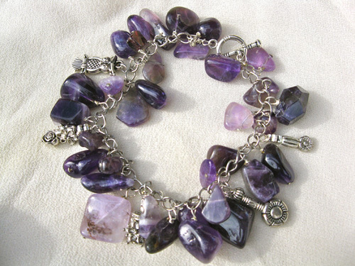 Owl charm bracelet - amethyst