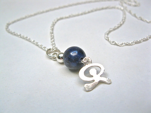 Sodalite necklace with lucky Indalo