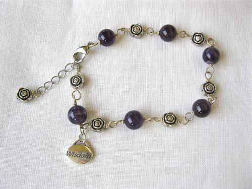 Amethyst charm bracelet for wisdom